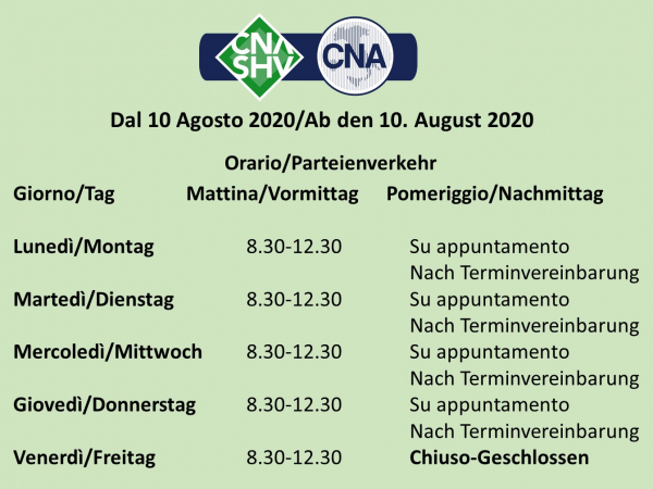 Uffici CNA-SHV, da lunedì 10 agosto 2020 nuovi orari di apertura al pubblico