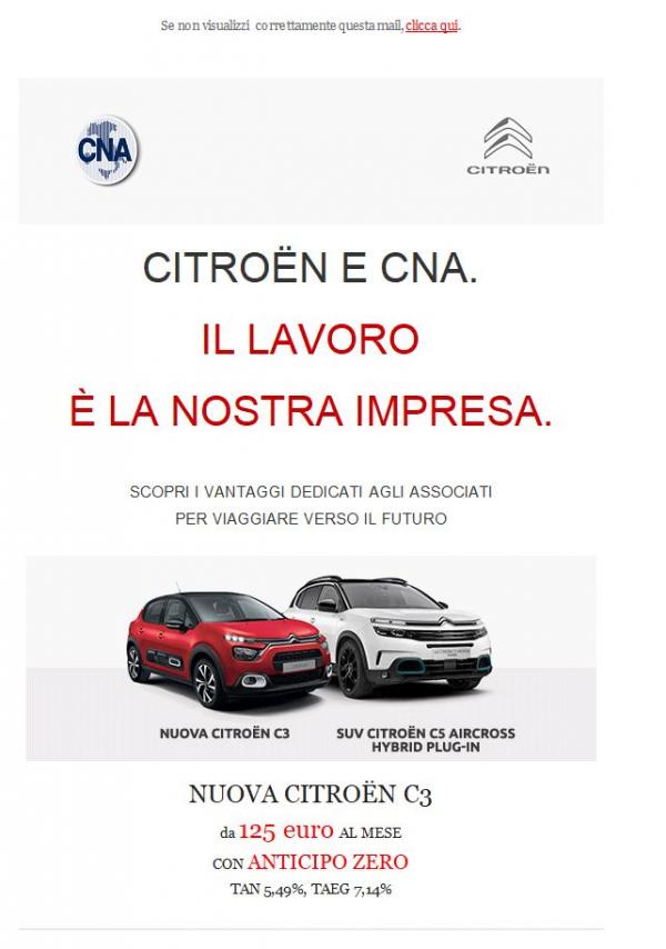 Scopri i vantaggi Citroën per i soci CNA su tutta la gamma di vetture e veicoli commerciali